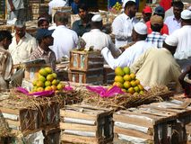 Activity in the fruit market during mango season royalty free stock photos
