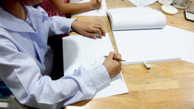 Activity girl student group studying to drawing background Royalty Free Stock Photography