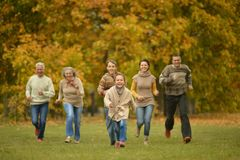Activity happy family relaxing in forest Stock Photos
