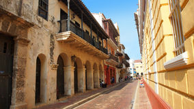 Activity in the historic center of the port city of Cartagena Stock Photos