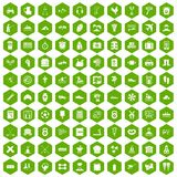 100 activity icons hexagon green. 100 activity icons set in green hexagon isolated vector illustration Royalty Free Stock Photo