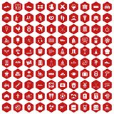 100 activity icons hexagon red. 100 activity icons set in red hexagon isolated vector illustration Royalty Free Stock Image