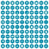 100 activity icons sapphirine violet. 100 activity icons set in sapphirine hexagon isolated vector illustration Stock Image