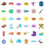 Activity icons set, cartoon style. Activity icons set. Cartoon style of 36 activity vector icons for web isolated on white background Royalty Free Stock Image