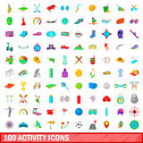 100 activity icons set, cartoon style Stock Photo