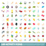 100 activity icons set, cartoon style Royalty Free Stock Image