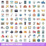 100 activity icons set, cartoon style. 100 activity icons set. Cartoon illustration of 100 activity vector icons isolated on white background Royalty Free Stock Photos