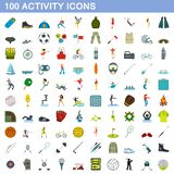 100 activity icons set, flat style. 100 activity icons set in flat style for any design illustration stock illustration