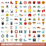 100 activity icons set, flat style. 100 activity icons set in flat style for any design vector illustration Stock Photos