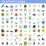 100 activity icons set, flat style. 100 activity icons set in flat style for any design vector illustration Royalty Free Stock Image