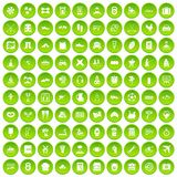 100 activity icons set green circle Royalty Free Stock Photos