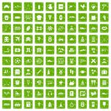 100 activity icons set grunge green. 100 activity icons set in grunge style green color isolated on white background vector illustration Stock Image