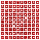 100 activity icons set grunge red. 100 activity icons set in grunge style red color isolated on white background vector illustration Royalty Free Stock Photography