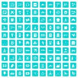 100 activity icons set grunge blue Royalty Free Stock Image