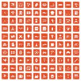 100 activity icons set grunge orange. 100 activity icons set in grunge style orange color isolated on white background vector illustration Royalty Free Stock Photography