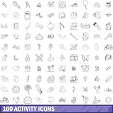 100 activity icons set, outline style Stock Photo