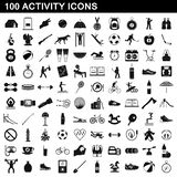 100 activity icons set, simple style. 100 activity icons set in simple style for any design illustration stock illustration