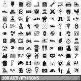 100 activity icons set, simple style. 100 activity icons set in simple style for any design vector illustration Stock Photo