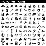 100 activity icons set, simple style. 100 activity icons set in simple style for any design vector illustration Royalty Free Stock Images
