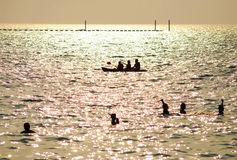 Activity. Many activity in water before sunset at kohsichang, chonburi Royalty Free Stock Photos