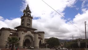 Daily activity in the monument The Gate of the City, built in 1998, inside the castle operates a museum stock footage