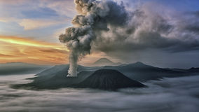 Activity at Mount Bromo in the early morning stock photo