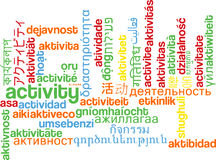 Activity multilanguage wordcloud background concept Stock Photography