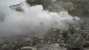 Activity of natural volcanic hot springs in Kamchatka Peninsula stock footage