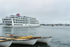 Activity on New Bedford waterfront. New Bedford, Massachusetts, USA - September 23, 2017: Cruise ship departs New Bedford during Working Waterfront Festival royalty free stock photos