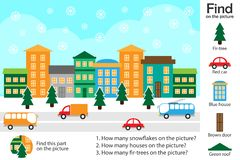Activity page, christmas picture in cartoon style, find images and answer the questions, visual education game for the development royalty free illustration