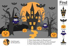 Activity page, halloween picture in cartoon style, find images, answer the questions, visual education game for the development of stock illustration