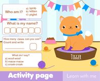 Activity page for kids with cute kitten pet. Educational children game. Worksheet test with cat. Words and numbers, counting. Activity page for kids with cute Royalty Free Stock Photos