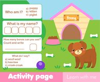 Activity page for kids with cute puppy. Educational children game. Worksheet test. Words and numbers, counting. Activity page for kids with cute puppy Royalty Free Stock Photography