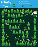 Activity page for kids. Educational children game. Animals theme with maze. Activity page for kids. Educational game. Maze and find objects. Animals theme. Help Royalty Free Stock Photography