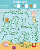 Activity page for kids. Educational game. Maze and counting game. Help mermaid find pearl. Fun for preschool years children Royalty Free Stock Photos