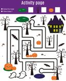 Activity page for kids. Educational children game. Halloween theme with maze. Activity page for kids. Educational game. Maze and find objects. Halloween theme Royalty Free Stock Photography