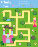 Activity page for kids. Educational game. Maze and find objects theme. Fairy tales theme. Help princess find castle. Fun for presc. Activity page for kids Stock Photos