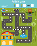 Activity page for kids. Educational game. Maze and find objects theme. Help bear find home. For preschool years children Royalty Free Stock Image