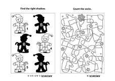 Activity page for kids with puzzles and coloring - ginger man, socks. Two visual puzzles and coloring page for kids. Find the right shadow for each picture of Stock Photography