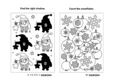 Activity page for kids with puzzles and coloring - owl, snowflakes, baubles royalty free illustration