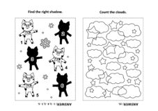 Activity page for kids with puzzles and coloring - piglets, stars, clouds royalty free illustration