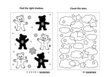 Activity page for kids with puzzles and coloring - teddy bear, stars, clouds vector illustration