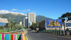 Activity in Patria Avenue in the north of the city of Quito royalty free stock photos