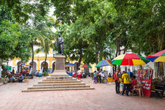 Activity in the Plaza in Mompox, Colombia Stock Photos