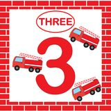 Activity for preschool children. Educational card with number 3 three with fire escape. Learning numbers.  Stock Photography