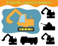 Activity for preschool children. Find the right shadow of excavator. royalty free illustration