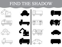 Activity for preschool children. Find the shadow and color the transport Vector Illustration