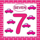 Activity for preschool children. Learning numbers. Educational card with number 7 seven with car.  Royalty Free Stock Image