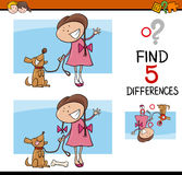 Activity for preschool kids. Cartoon Illustration of Finding Differences Educational Activity Task for Preschool Children with Girl and her Dog Royalty Free Stock Photo