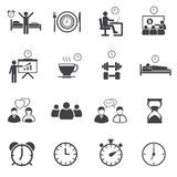 Activity Daily Routine icons set Royalty Free Stock Photography